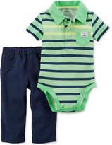 Carter's 2-Pc. Cotton Striped Polo Bodysuit & Pants Set, Baby Boys