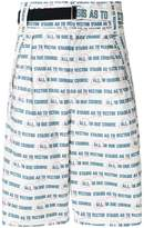 Sacai belted graphic print shorts