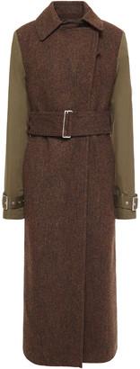 Victoria Beckham Belted Gabardine-paneled Wool-tweed Coat
