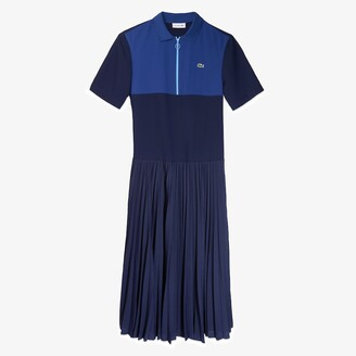 Lacoste Women's Colorblock Flowy Pleated Skirt Polo Dress