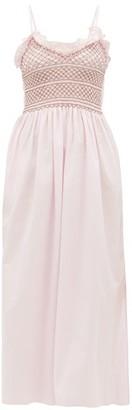 Loretta Caponi Bianca Shirred-bodice Embroidered Cotton Dress - Pink Multi