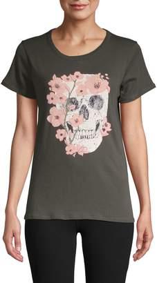 Chaser Flower & Skull Cotton T-Shirt