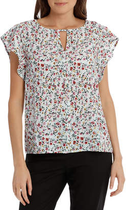 Basque Must Have Crepe Frill Top Print