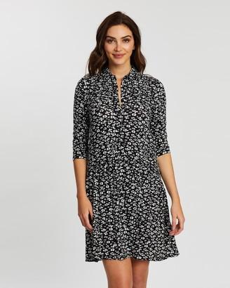 Dorothy Perkins Pleated Long Sleeve Shirt Midi Dress
