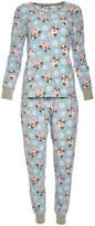 Rene Rofe Women's Sleep Bottoms WINTER - Light Blue Dog Contrast-Trim Pajama Set - Women