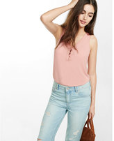 Express mixed fabric lace-up tank