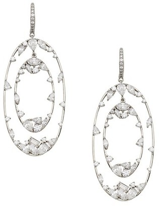 Adriana Orsini Rhodium-Plated & Cubic Zirconia Orbiting Oval Drop Earrings