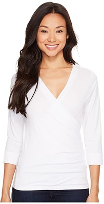 Lilla P Pima Jersey 3/4 Sleeve Surplice Top (White) Women's Clothing