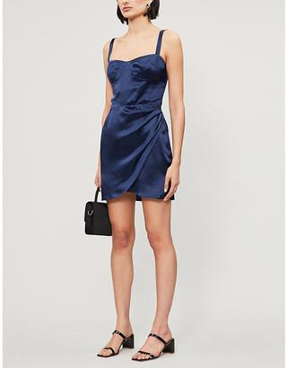 Reformation Fonda wrap silk-satin mini dress