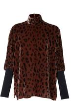 Tibi Cheetah Velvet Turtleneck Top