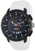 Versus By Versace Men's SGV050013 Manhattan Black Ion-Plated Stainless Steel Watch with White Rubber Band