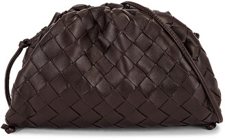 Bottega Veneta Mini Leather Woven Pouch Clutch Crossbody Bag in Fondente & Gold | FWRD