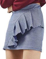 Topshop Gingham Ruffle Jersey Skirt