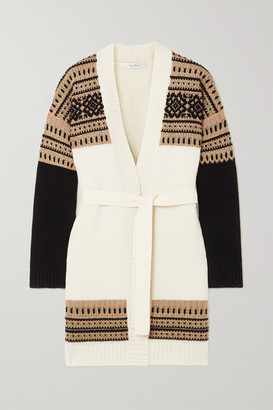 Max Mara Buona Belted Fair Isle Wool And Cashmere-blend Cardigan - Ivory