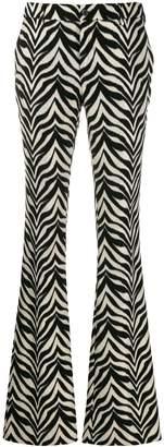 Pt01 zebra-stripe flared trousers