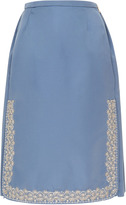 Rochas Pencil Skirt With Embroidery On The Side Split