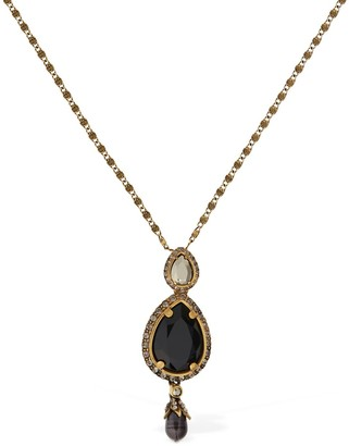 Alexander McQueen Long Chain Necklace W/ Pearl & Crystals