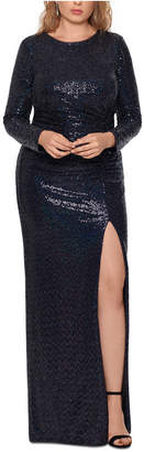Xscape Evenings Plus Size Sequined Open-Back Gown