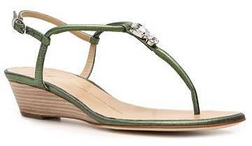 Giuseppe Zanotti Crystal Leather Wedge Sandal