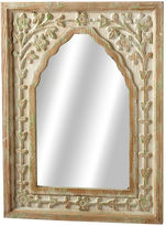 Asstd National Brand Distressed Ivory Green Floral Arch Wall Mirror