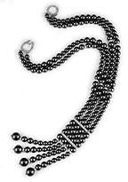 Kenneth Jay Lane Black Pearl Double Strand Necklace Pave Clasp