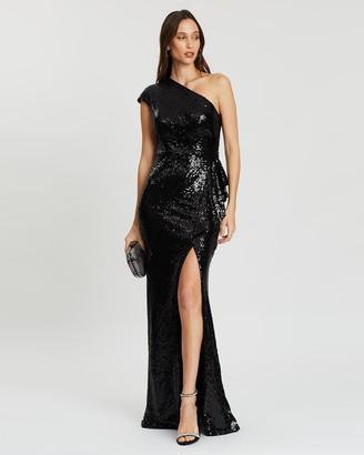 Bariano Yasmin Asymmetric Sequin Gown