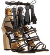 Jimmy Choo Diamond 100 satin and leather sandals