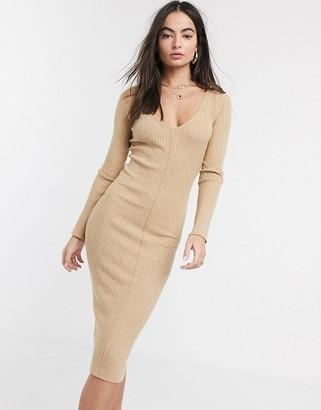 ASOS DESIGN v neck rib knitted midi dress