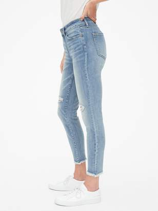 Gap Mid Rise Curvy True Skinny Ankle Jeans with Distressed Detail