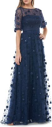 Carmen Marc Valvo 3D Embroidered Lace Gown