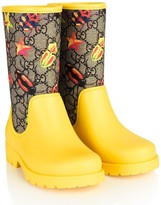GUCCI Yellow & Beige GG Beetle Rain Boots