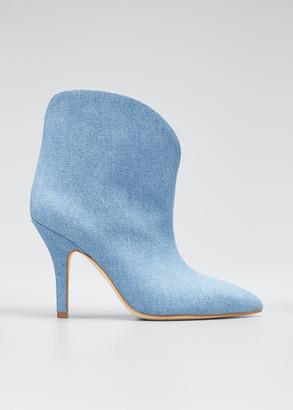 Paris Texas Denim Heeled Ankle Boots