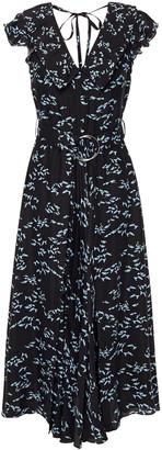 Markus Lupfer Diana Ruffled Printed Crepe De Chine Midi Dress