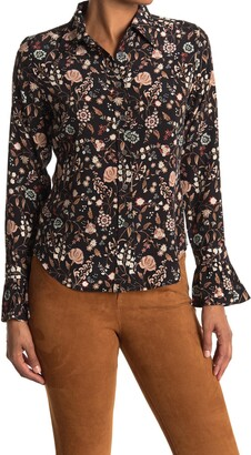 Frame 70s Floral Ruffle Silk Shirt