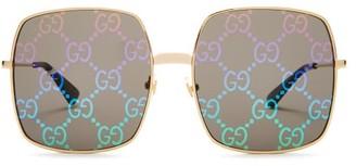 Gucci GG Supreme Square Metal Sunglasses - Gold Multi