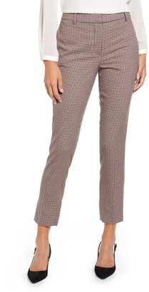 1 STATE Mini Houndstooth Check Flat Front Slim Pants