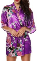 Luxurysmart Women's Peacock Floral Satin Kimono Robe Sleepwear Nightgown