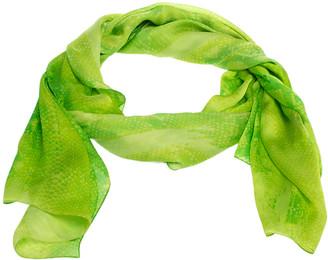 Roberto Cavalli Neon Green Snakeskin Print Silk Scarf
