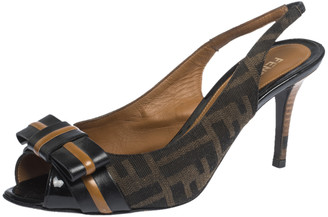 Fendi Brown Zucca Canvas And Leather Bow Slingback Sandals Size 37.5