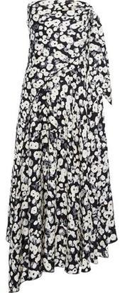 Derek Lam Strapless Knotted Floral-print Silk-jacquard Midi Dress