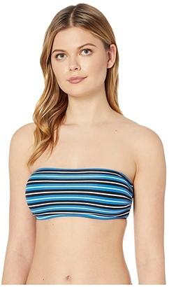 MICHAEL Michael Kors Marine Stripe Bandeau Bikini Top (Vintage Blue) Women's Swimwear