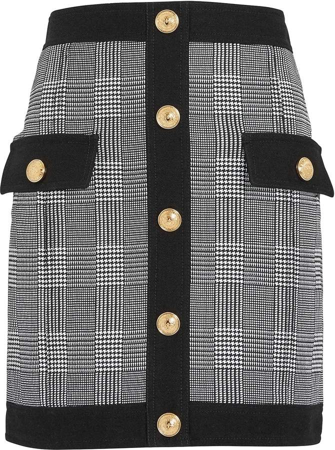 Balmain Plaid Mini Skirt