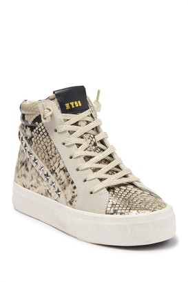Steve Madden Qualify Gold Snake Embossed High Top Sneaker