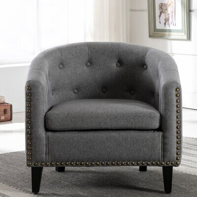 """Thumbnail for your product : Lark ManorTM Crumley 28.3"""" W Tufted Linen Barrel Chair"""
