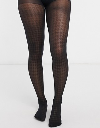 Gipsy dogtooth 30 denier tights in black