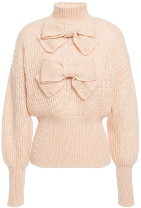 Zimmermann Bow-embellished Ribbed Mohair-blend Sweater