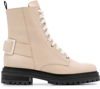 Sergio Rossi Buckled Lace-Up Boots
