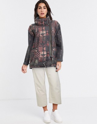 Free People jenny quilted moto jacket in multi