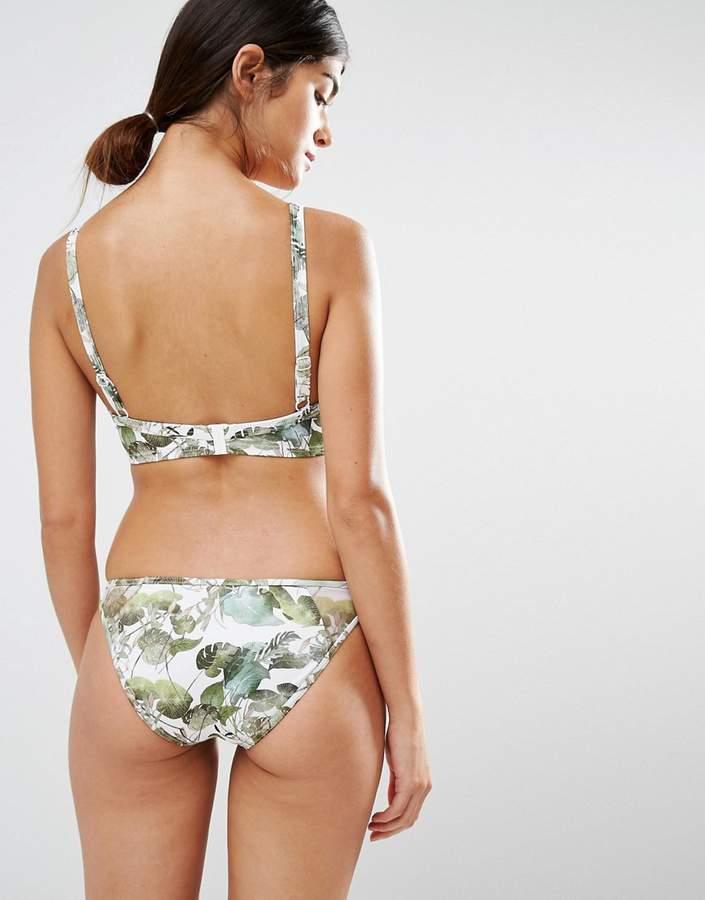Asos FULLER BUST Lily Pad Print Mesh Plunge Bikini Top DD-G