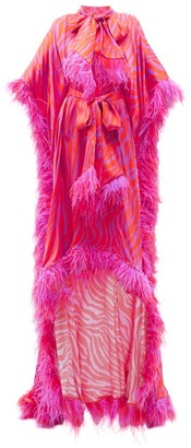 Halpern Zebra-stripe Feather-trimmed Satin Gown - Pink Print